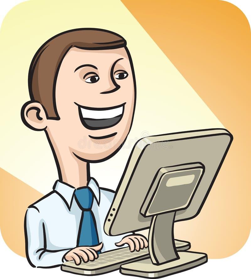 Affärsman och skrivbords- dator royaltyfri illustrationer