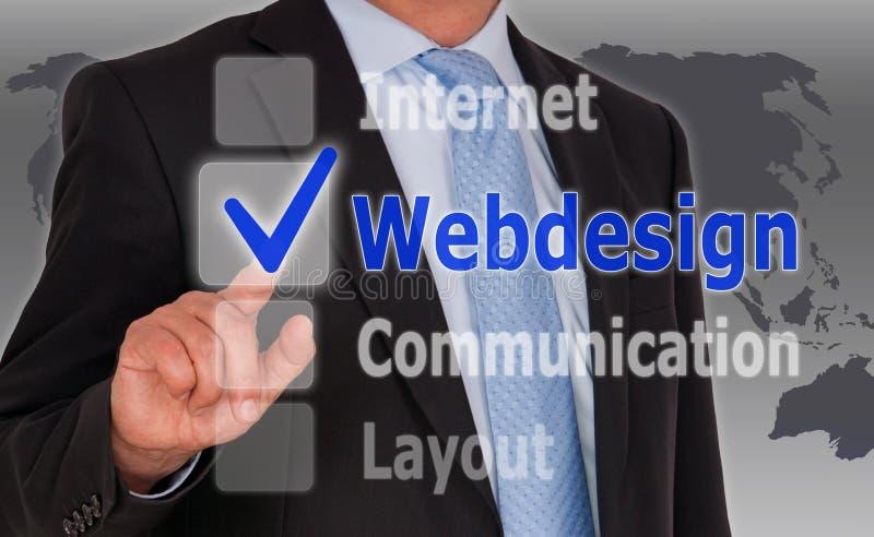 Affärsman och webdesign arkivfoton