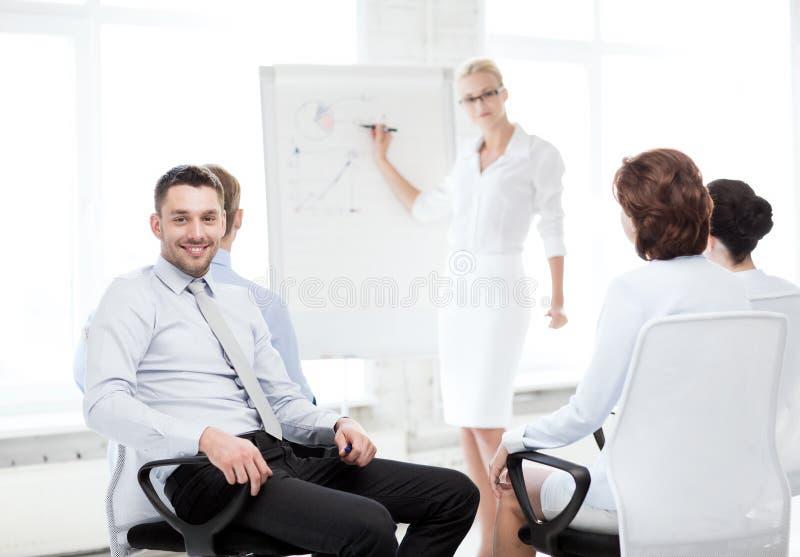 Affärsman på affärsmöte i regeringsställning arkivbilder