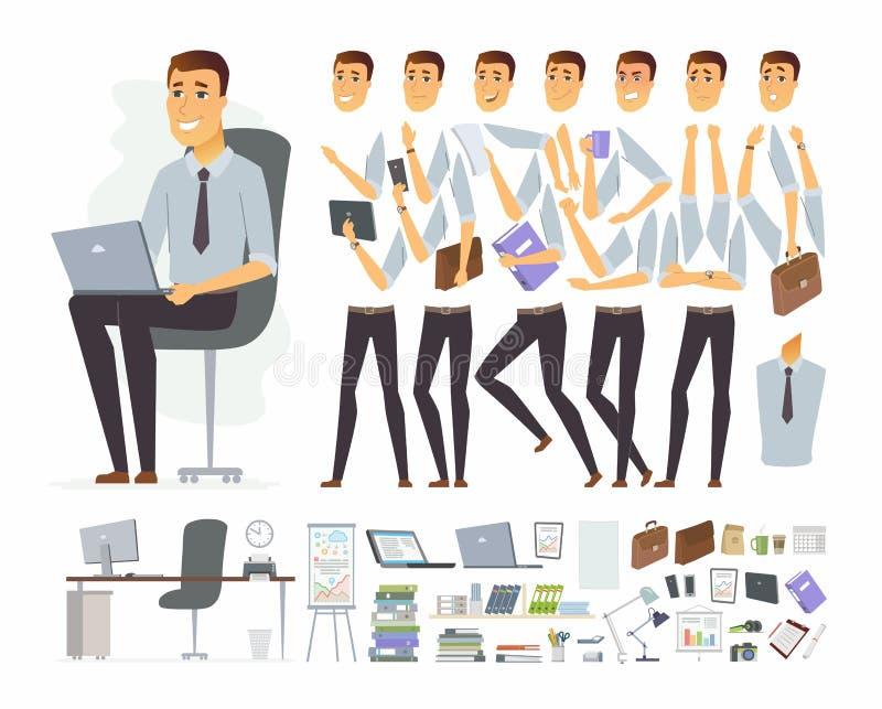 Affärsman på arbete - konstruktör för tecken för vektortecknad filmfolk royaltyfri illustrationer