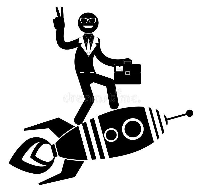 Affärsman på en raket som pekar och visar royaltyfri illustrationer