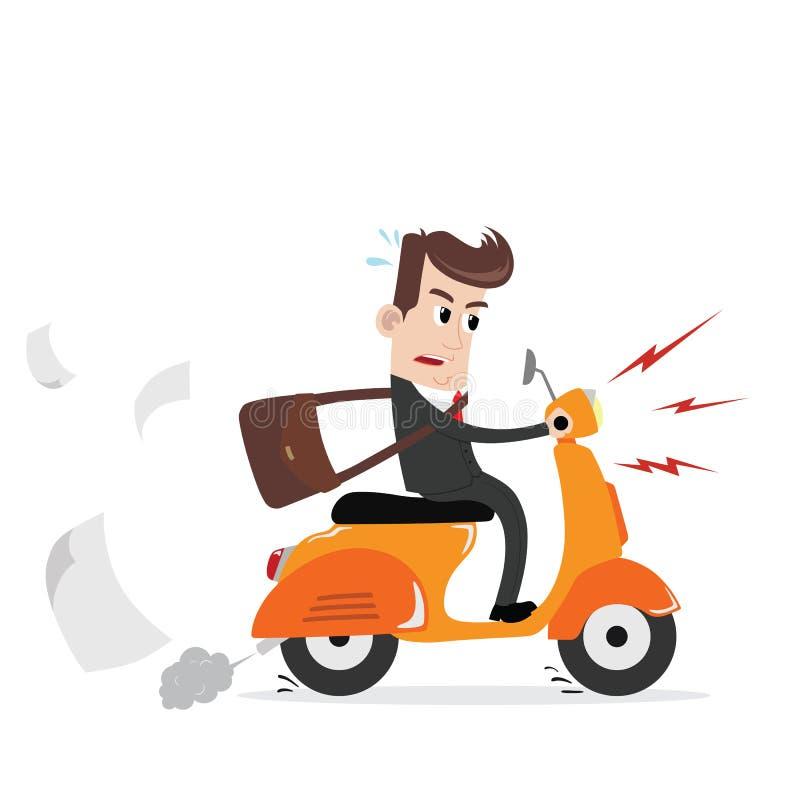 Affärsman på en sparkcykel som arbetar royaltyfri illustrationer