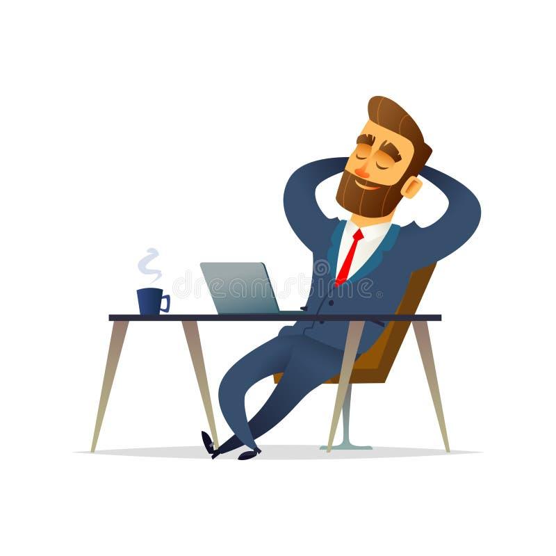 Affärsman på hans koppla av för skrivbord Chef att sitta för att koppla av och tänka på hans arbetsplats den främmande tecknad fi stock illustrationer