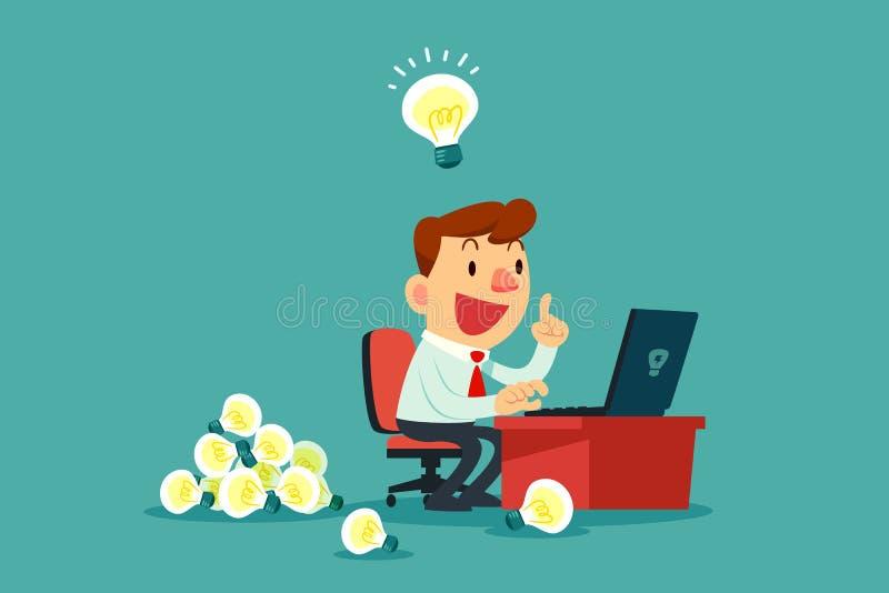 Affärsman på hans skrivbord som skapar mycket idékulor royaltyfri illustrationer