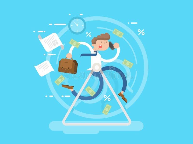 Affärsman på hjulet vektor illustrationer