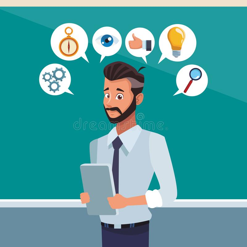 Affärsman på kontoret royaltyfri illustrationer