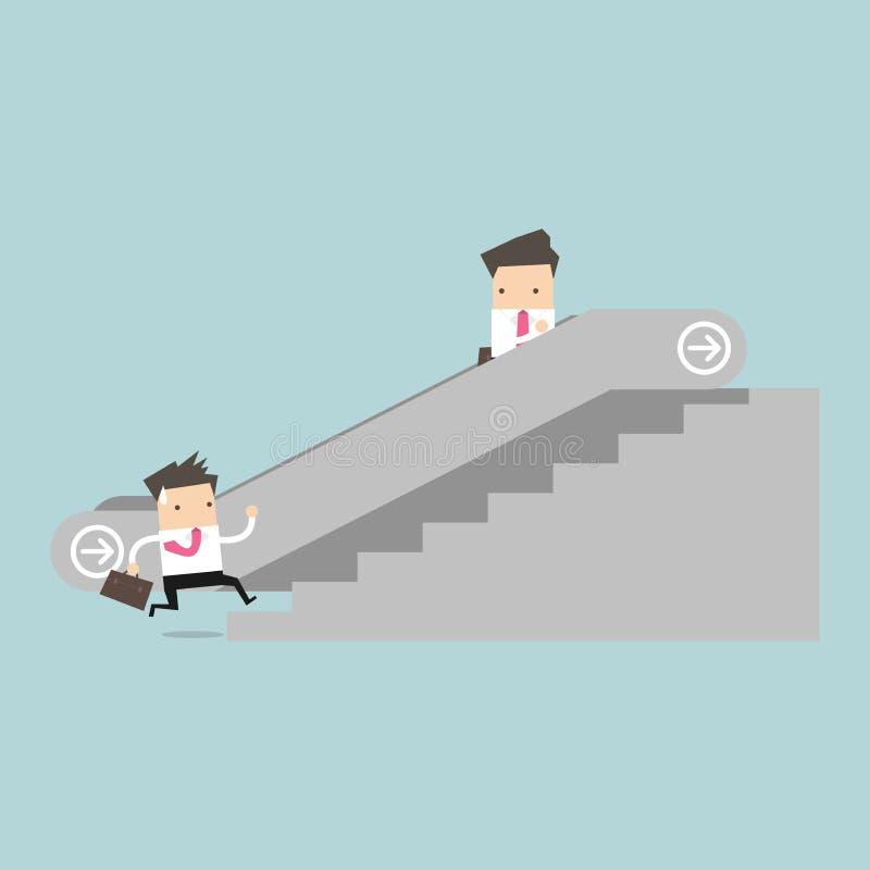 Affärsman på rulltrappan och en annan man som klättrar trappan royaltyfri illustrationer