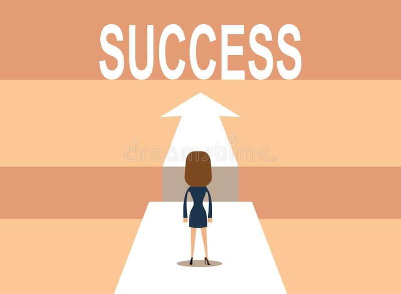 Affärsman på vägen till framgång i affär vektor illustrationer