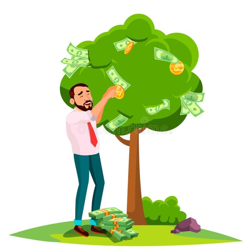 Affärsman Pick An Money från ett träd i stället för sidavektor isolerad knapphandillustration skjuta s-startkvinnan royaltyfri illustrationer