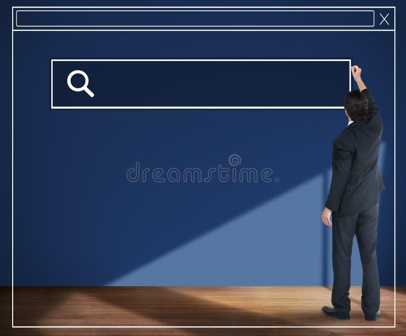 Affärsman Planning Strategy Vision som söker Webpagebegrepp arkivbild