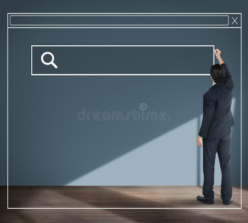 Affärsman Planning Strategy Vision som söker Webpagebegrepp royaltyfri foto