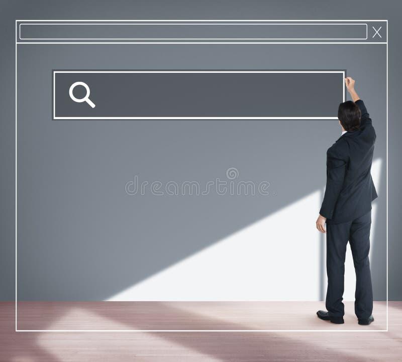 Affärsman Planning Strategy Vision som söker Webpagebegrepp royaltyfria bilder