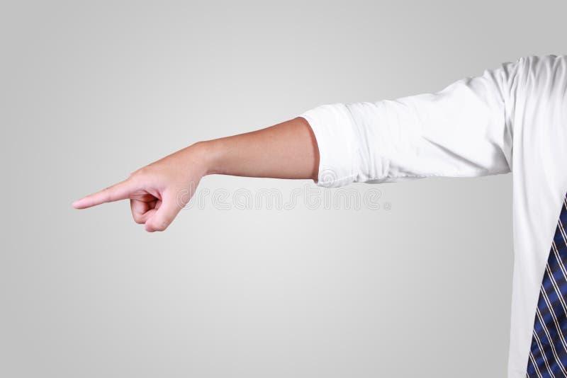 Affärsman Pointing Forward, profil för sidosikt fotografering för bildbyråer