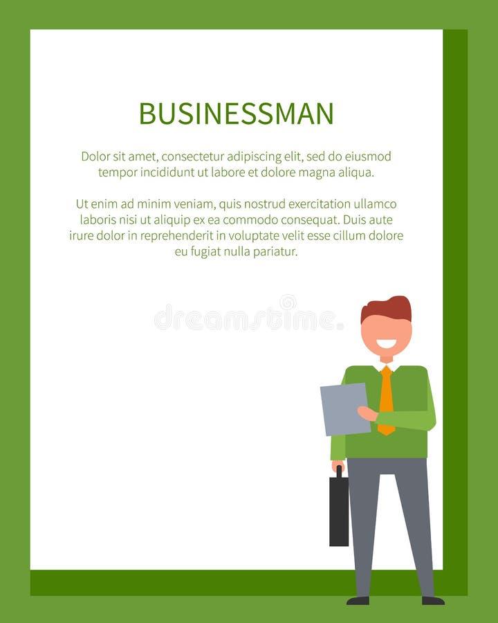 Affärsman Poster Frame för text och leman royaltyfri illustrationer