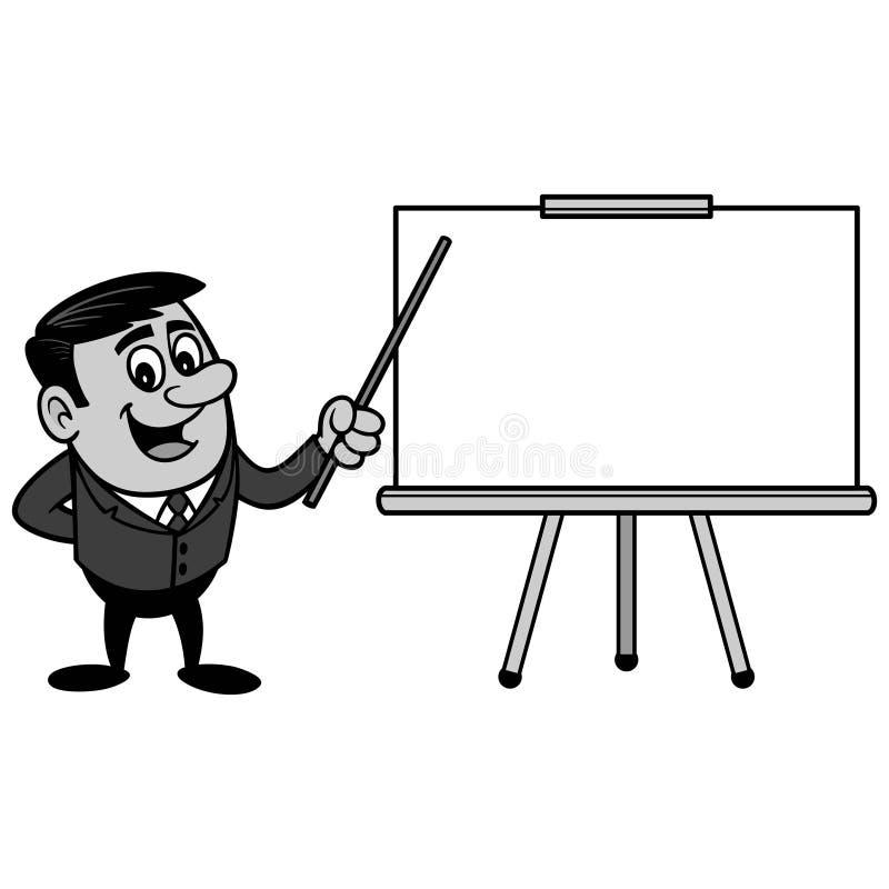 Affärsman Presentation Screen Illustration stock illustrationer