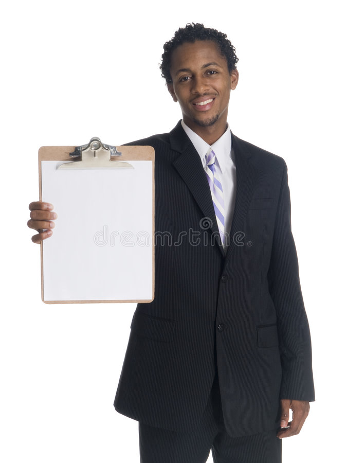 Affärsman - presentera clipboarden royaltyfri fotografi