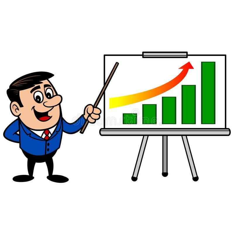Affärsman Profit Gain Presentation royaltyfri illustrationer