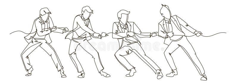 Affärsman Pulling den fortlöpande linjen konst för rep Linjärt begrepp för affärsteamwork Konturfolkkonkurrens stock illustrationer