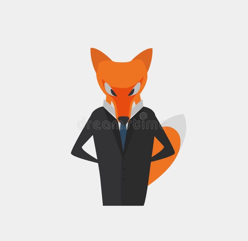 Affärsman - räv som ett symbol av intelligens och hantverket Beståndsdel för information Diagram, Korporation diagram etc. royaltyfri illustrationer