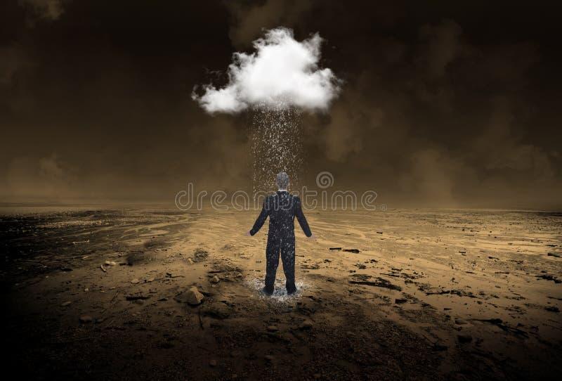 Affärsman regn, affär, försäljningar, marknadsföring