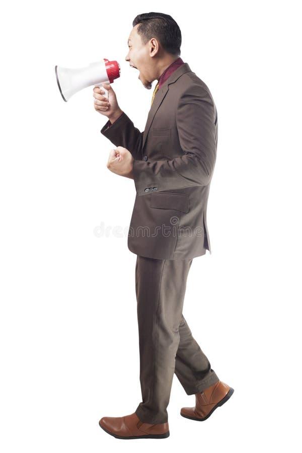 Affärsman Shout med megafonen arkivfoton