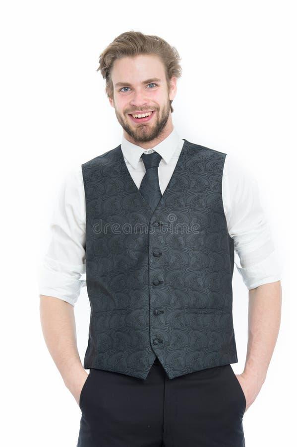 Affärsman, skäggig man eller legentleman i waistcoat och band arkivfoto