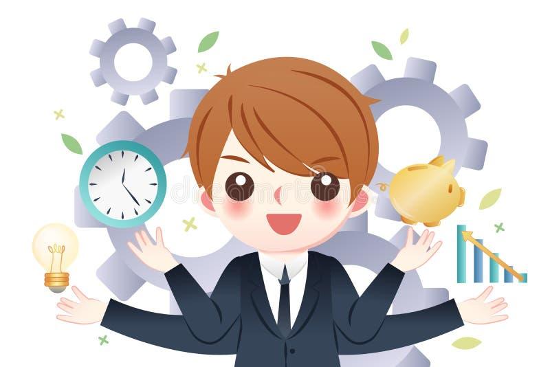 Affärsman som är bra på ledning stock illustrationer