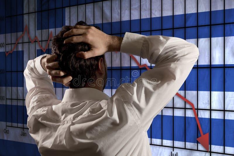 Affärsman som är desperat för den grekiska krisen arkivfoton