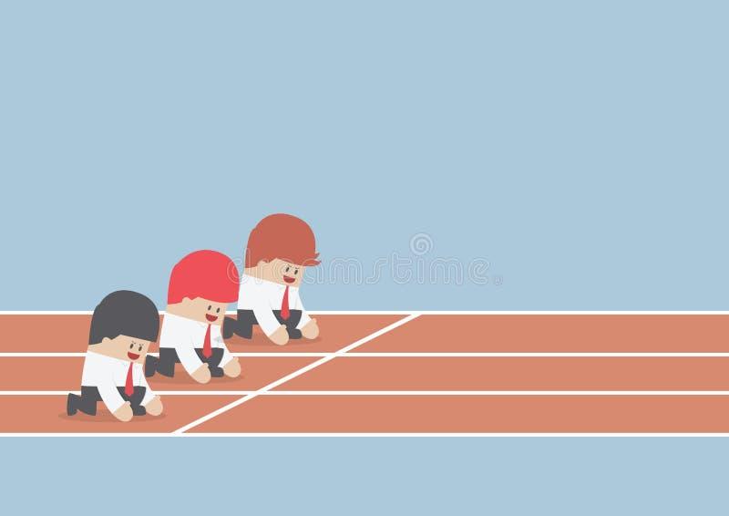 Affärsman som är klar att köra på startpunkt, affärskonkurrens Co stock illustrationer