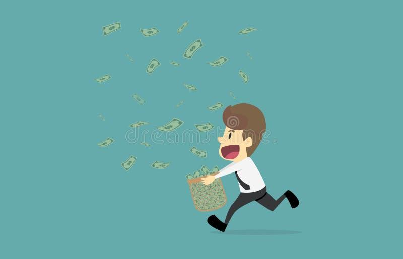 Affärsman som är lycklig med pengarnedgången Tecknade filmen av affärsframgång äger rum royaltyfri illustrationer