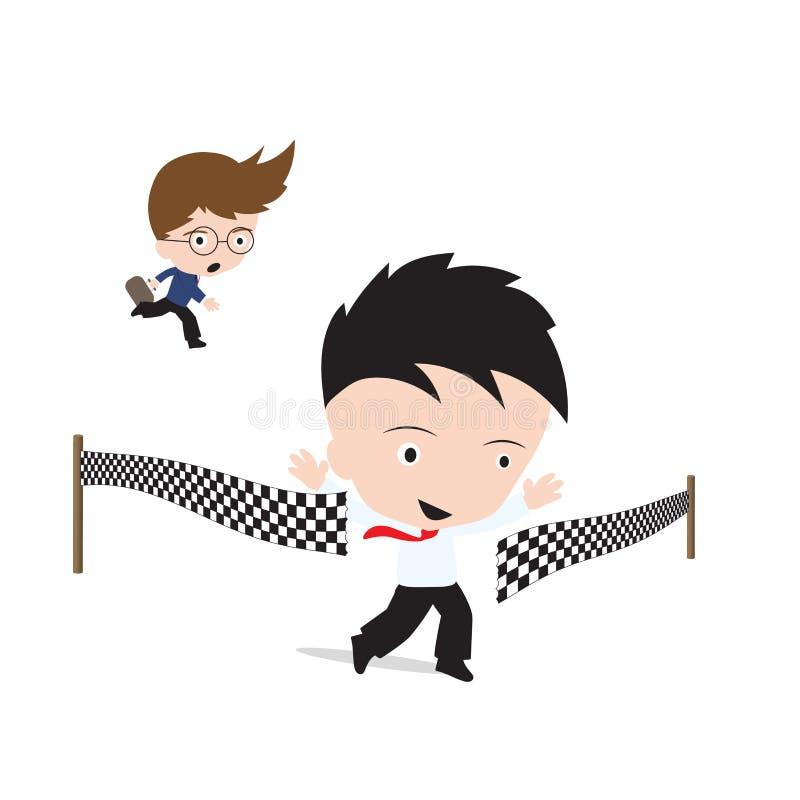 Affärsman som är lycklig och korsar mållinjen över konkurrent, lyckat begrepp vektor illustrationer