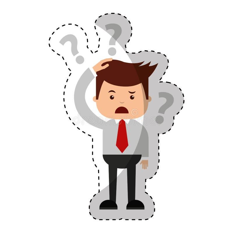 Affärsman som är rolig med symbolen för tvivelserietecken stock illustrationer