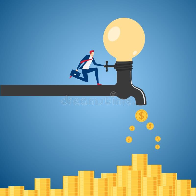 Affärsman som är roterande på processen för idé för ljus kula för vattenkran som är pengar Begrepp för passiv inkomst stock illustrationer