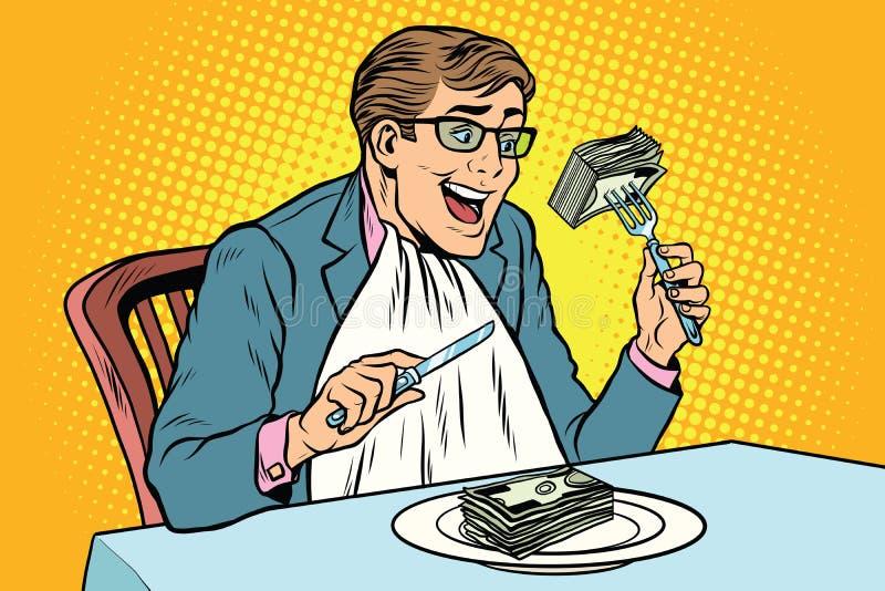 affärsman som äter pengar royaltyfri illustrationer