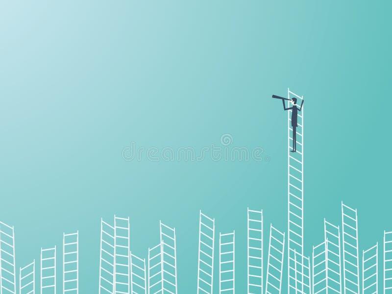 Affärsman som överst står av en stege med ett teleskop eller en monocular Affärsledarskap- eller visionärvektorbegrepp royaltyfri illustrationer