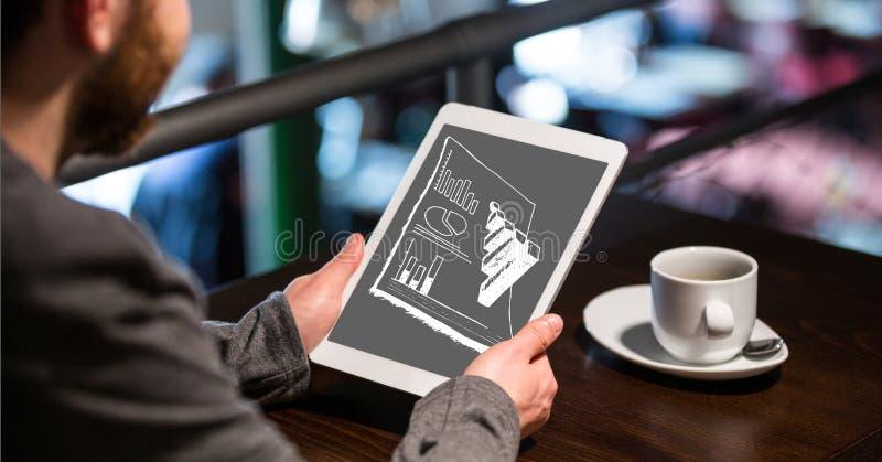 Affärsman som analyserar grafer på den digitala minnestavlan på tabellen vektor illustrationer