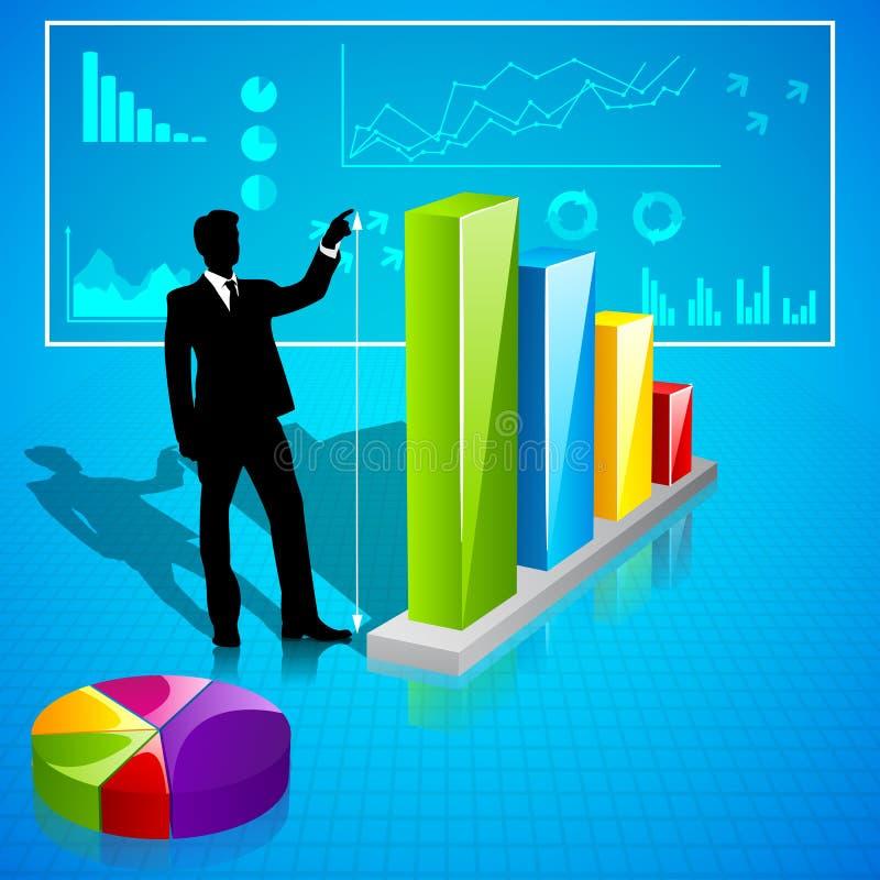 Affärsman som analyserar statistik royaltyfri illustrationer