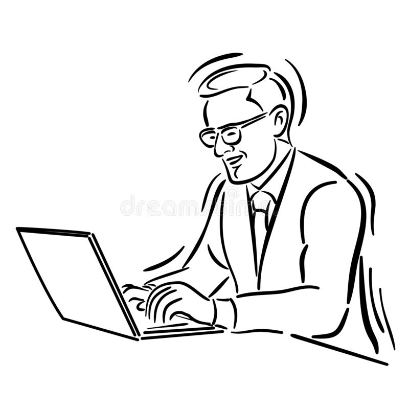 Affärsman som använder den Labtop linjen teckning vektor illustrationer