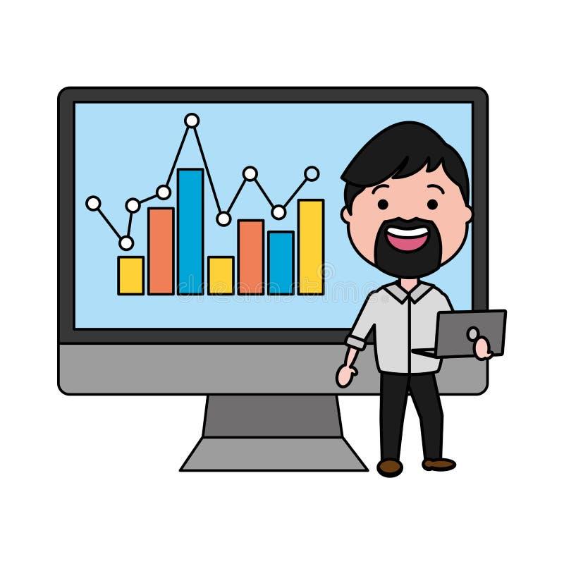 Affärsman som använder den skrivbords- datoren med statistik vektor illustrationer