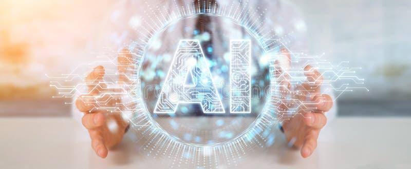 Affärsman som använder det digitala symbolshologrammet för konstgjord intelligens stock illustrationer