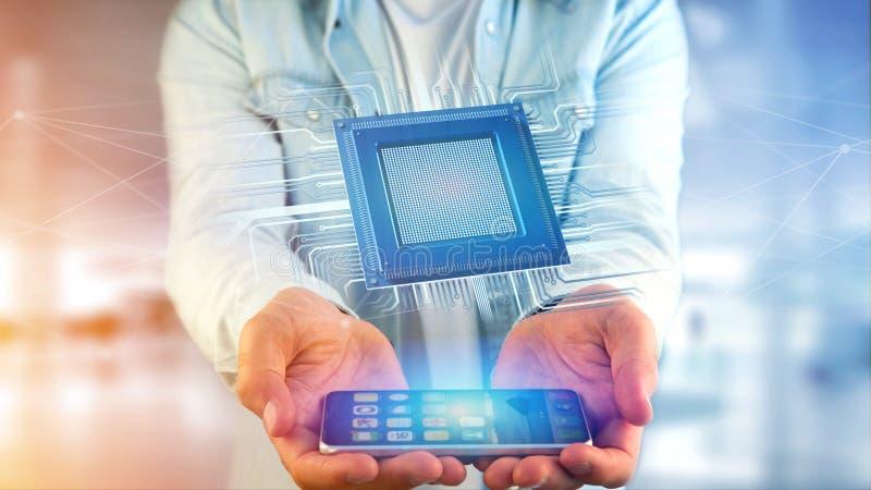Affärsman som använder en smartphone med en processorchip och nätverk royaltyfri illustrationer