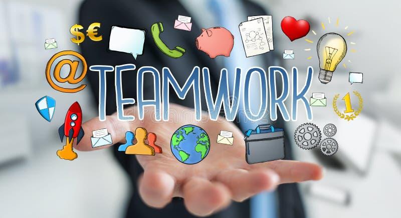 Affärsman som använder hand-dragen teamworkpresentation vektor illustrationer