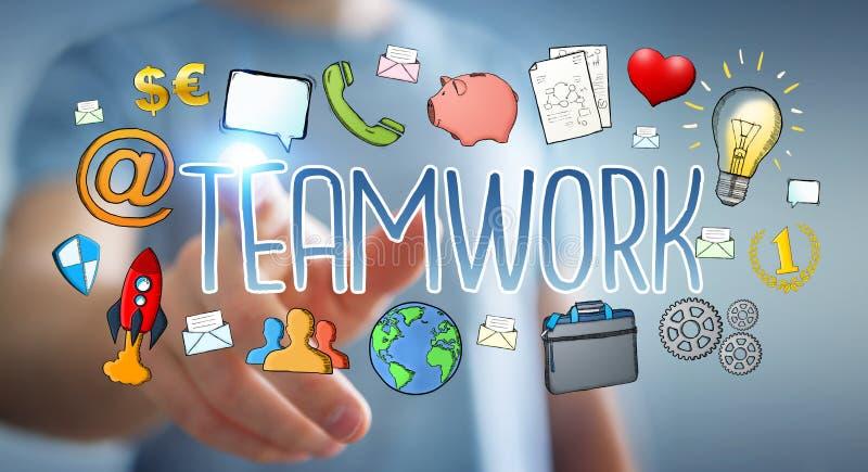 Affärsman som använder hand-dragen teamworkpresentation stock illustrationer