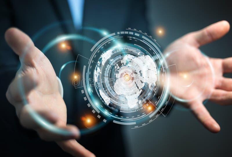 Affärsman som använder hologramskärmen med renderin för digitala data 3D royaltyfri illustrationer