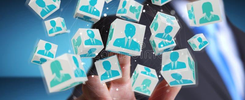 Affärsman som använder lagkuber för tolkning 3D stock illustrationer