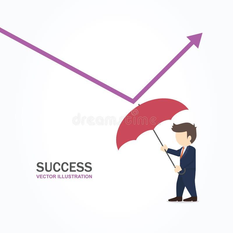 Affärsman som använder paraplyet för att reflektera den låga grafen bollar dimensionella tre stock illustrationer