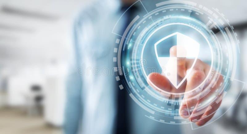 Affärsman som använder säkert skydd för sköld för att skydda hans data 3D royaltyfri illustrationer