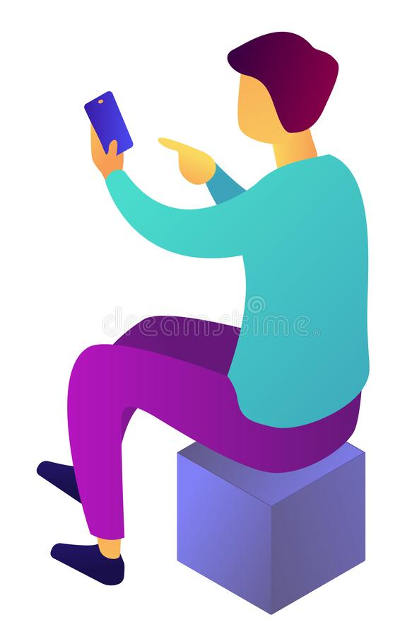 Affärsman som använder smartphonen som sitter på den isometriska illustrationen 3D för kub stock illustrationer