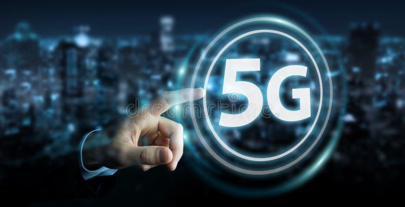 Affärsman som använder tolkningen för manöverenhet för nätverk 5G 3D royaltyfri illustrationer