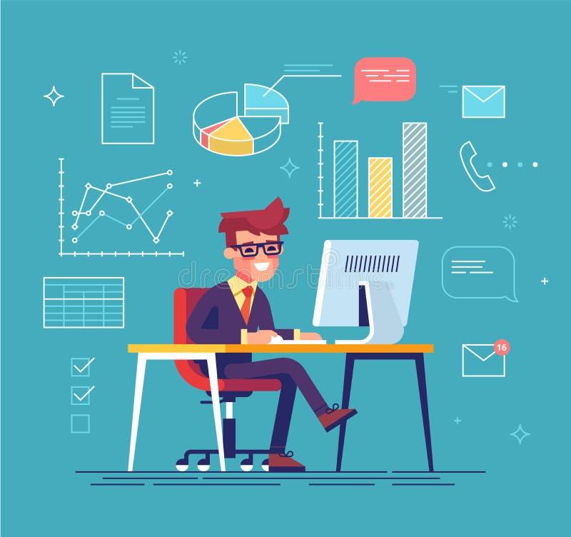 Affärsman som arbetar bak hans dator stock illustrationer